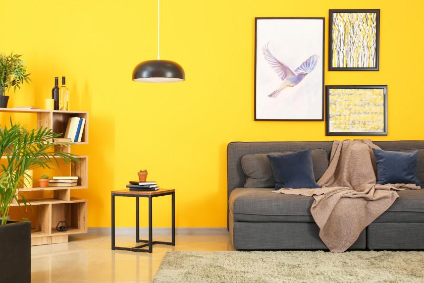Salon z jaskrawą, żółtą ścianą