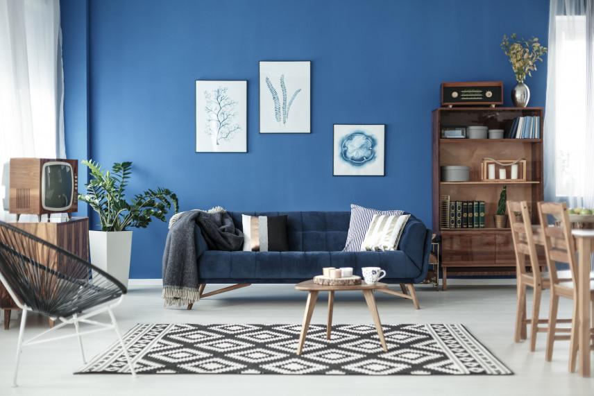 Niebieski salon z plakatami