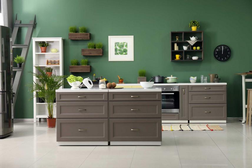 Salon z zieloną kuchnią