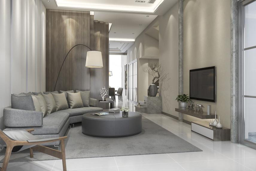 Szary salon z telewizorem