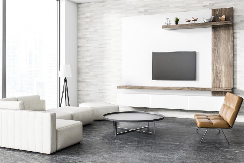 Stylowy salon z betonową podłogą