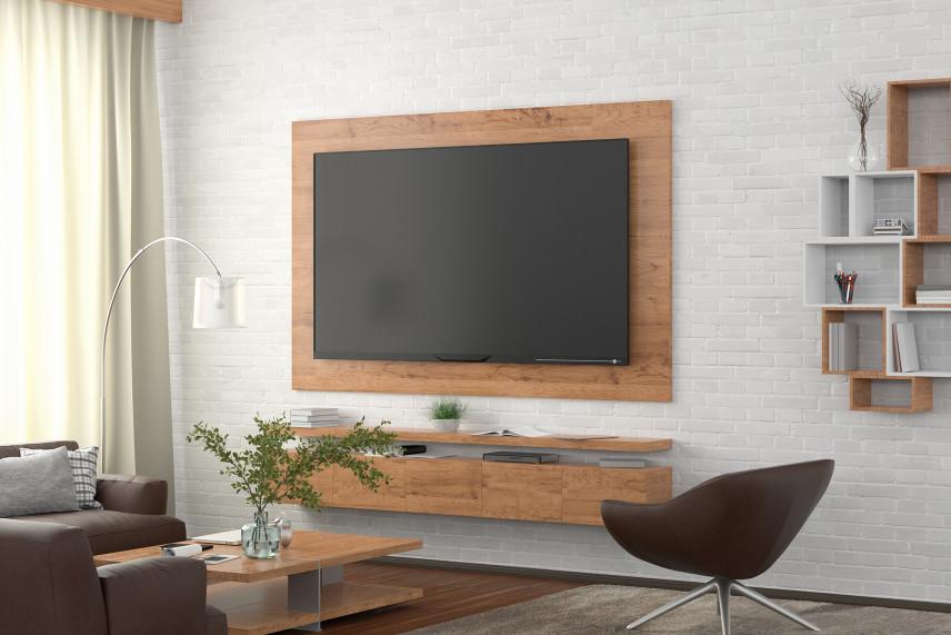 Telewizyjna ściana z białej cegły