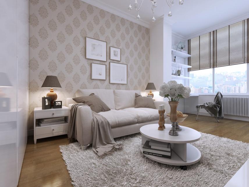 Przytulny salon z klasyczna tapetą