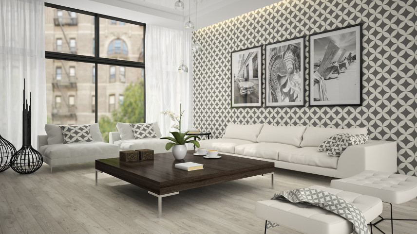Awangardowy salon z tapetą