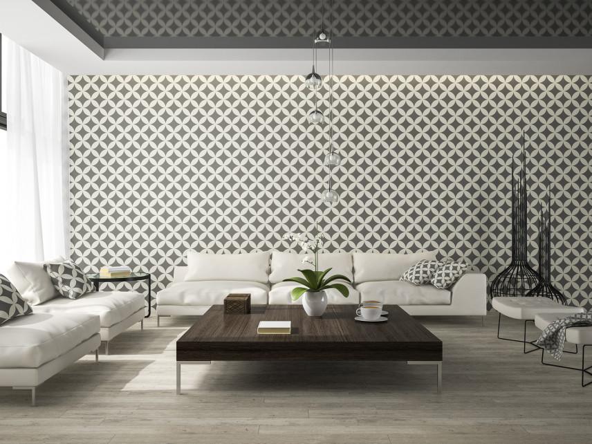 Salon ze stylową tapetą