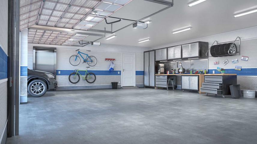 Duży garaż z dwoma bramami w domu jednorodzinnym