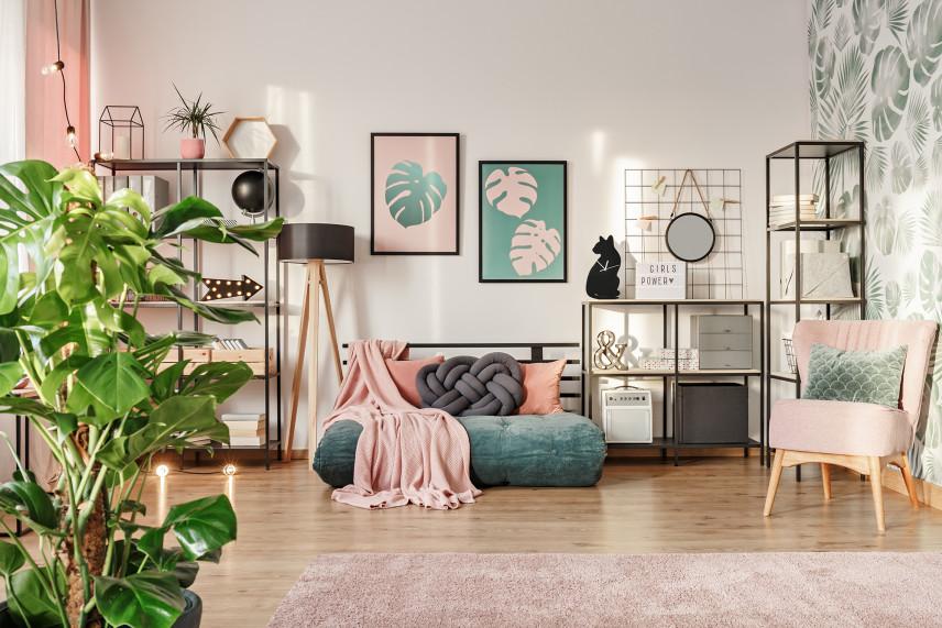 Pastelowy salon w stylu skandynawskim