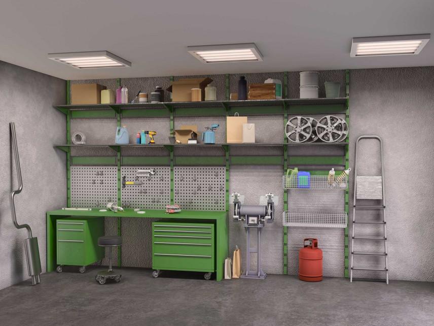Projekt przestrzeni roboczej w garażu