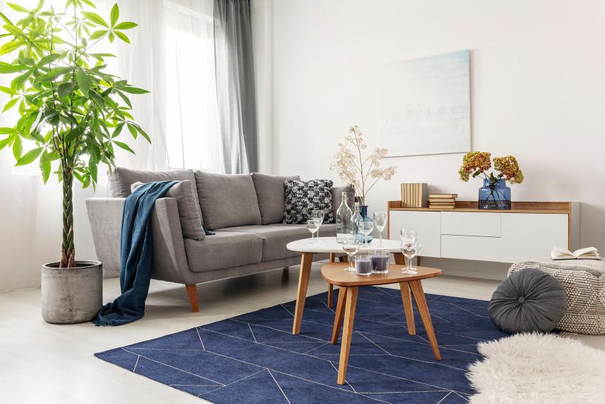 Salon w bloku z kanapą i granatowym dywanem