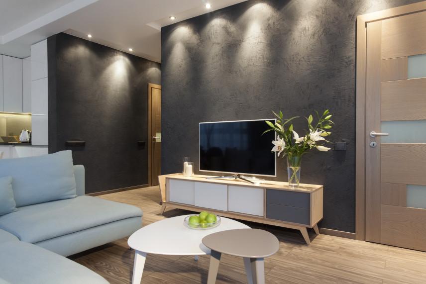 Salon z szarą ścianą i telewizorem
