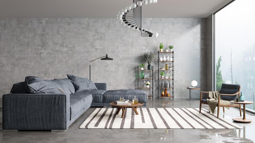 Szary salon z designerskim żyrandolem
