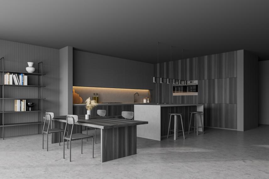 Szary salon z kuchnią i jadalnią