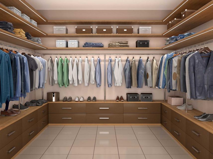Projekt garderoby w pomieszczeniu