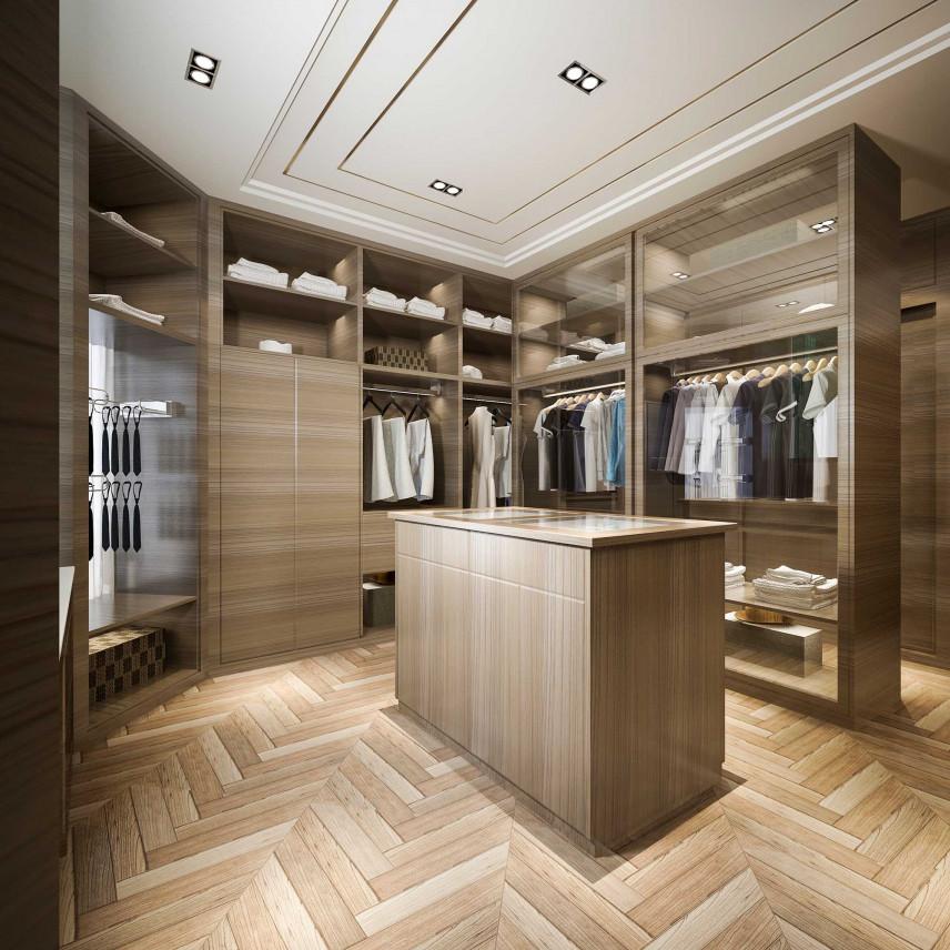 Garderoba z drewnianą podłogą