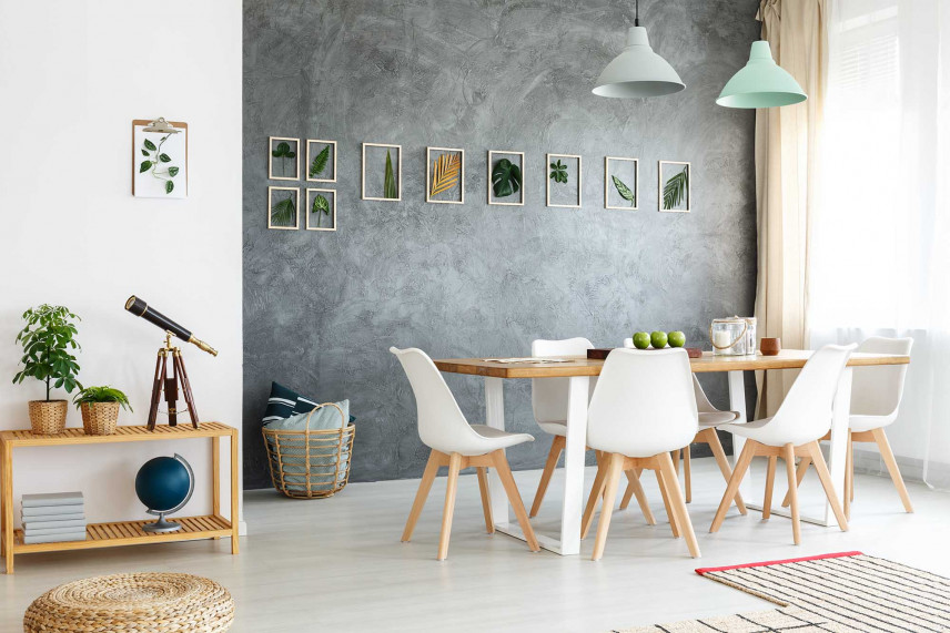 Jadalnia z biało-drewnianym stołem