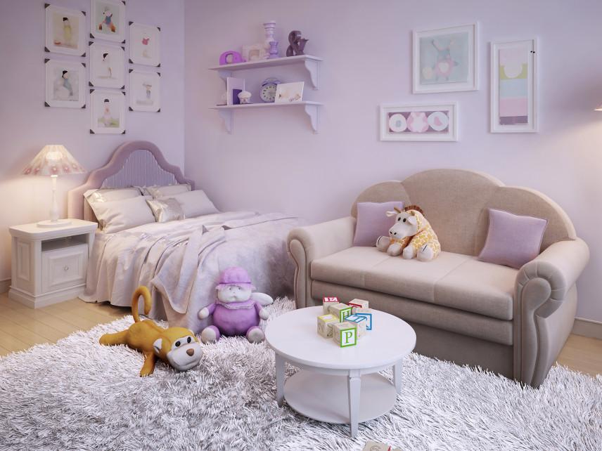 Lawendowy pokój dla dziewczynki