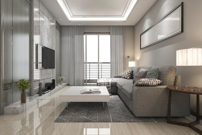 Salon z prostokątnym lustrem