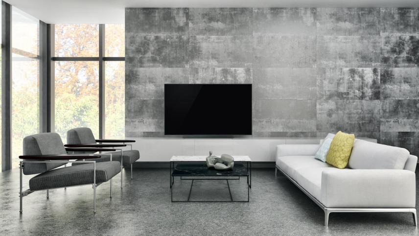 Projekt salonu z betonową ścianą