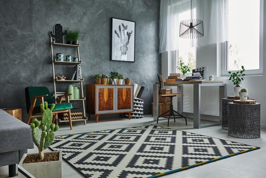 Aranżacja salonu w czarno-białym kolorze