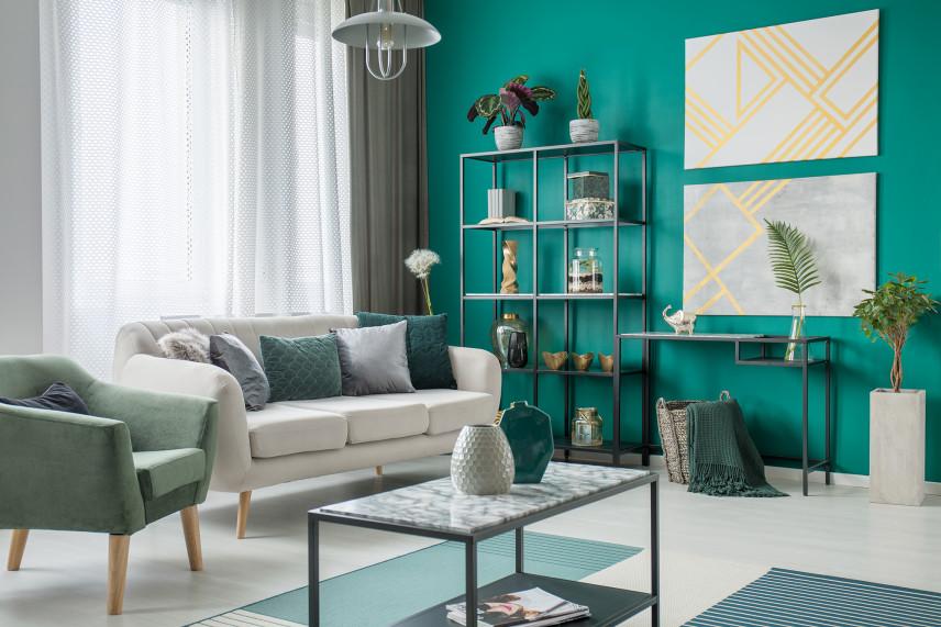 Designerski zielony salon