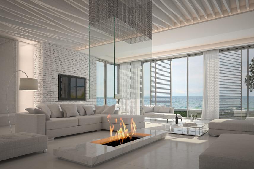 Salon z piękną panoramą