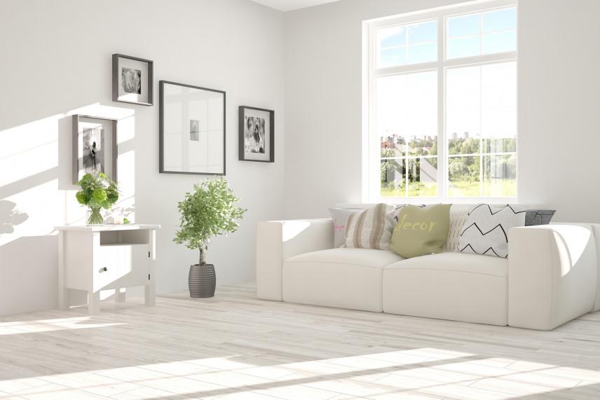 Nowoczesny, biały salon