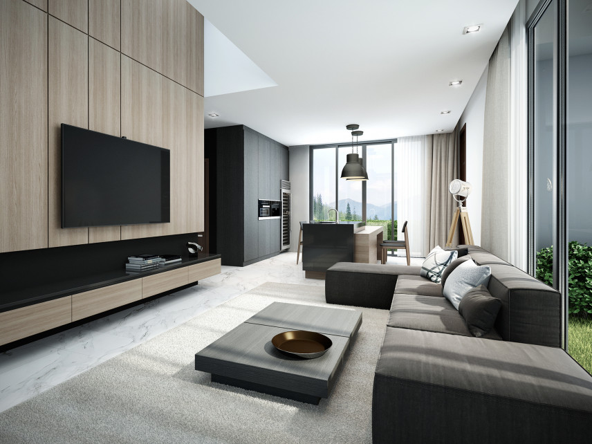 Salon z wielkim telewizorem
