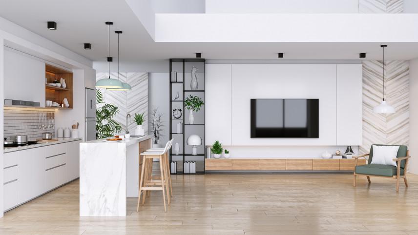 Projekt salonu z kuchnią
