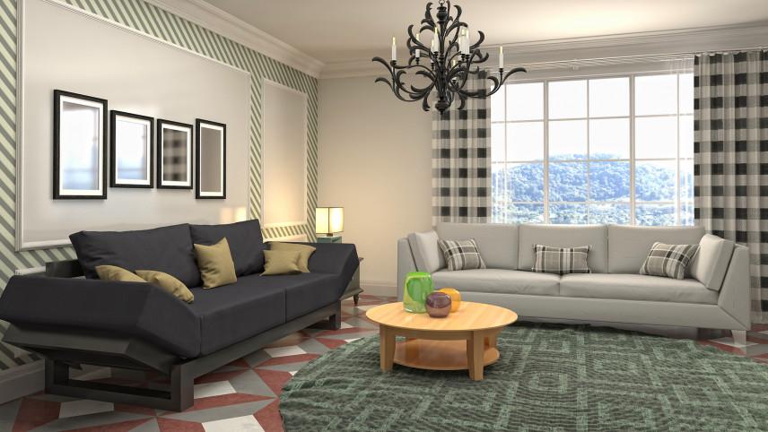 Projekt salonu z zielonym dywanem