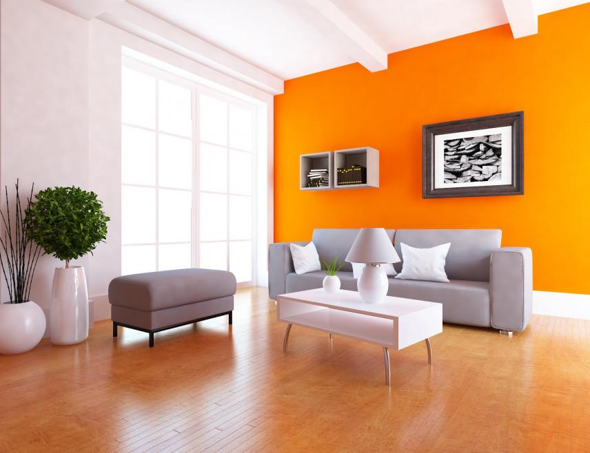 Aranżacja pomarańczowej ściany