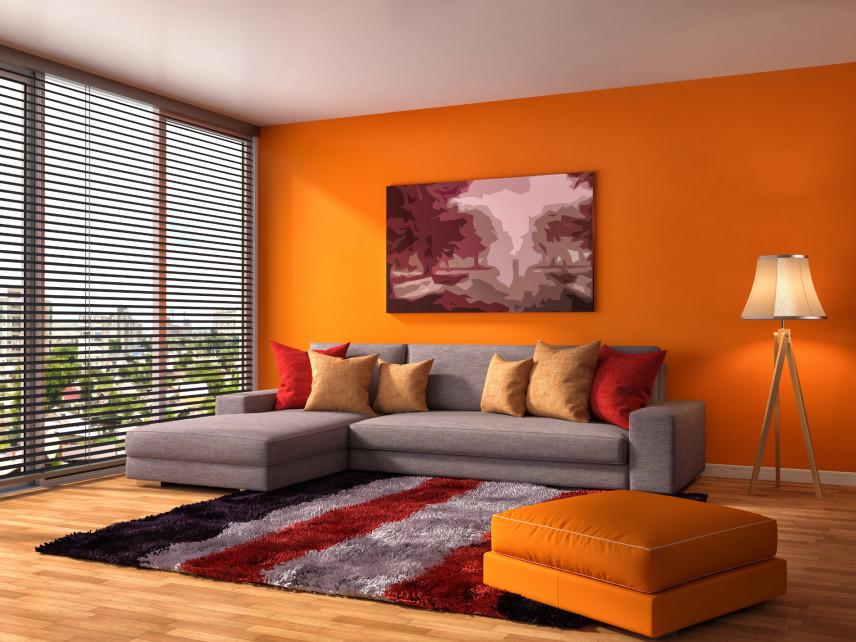 Pomarańczowy salon w mieszkaniu