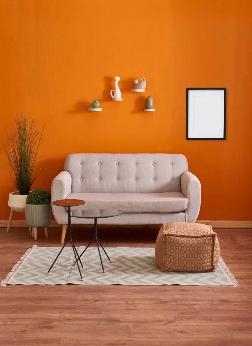 Pomarańczowy salon z meblami