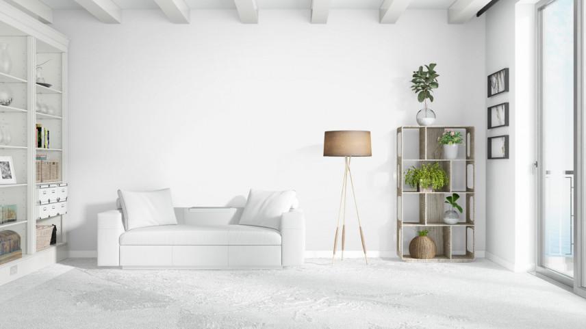 Projekt salonu w białym kolorze