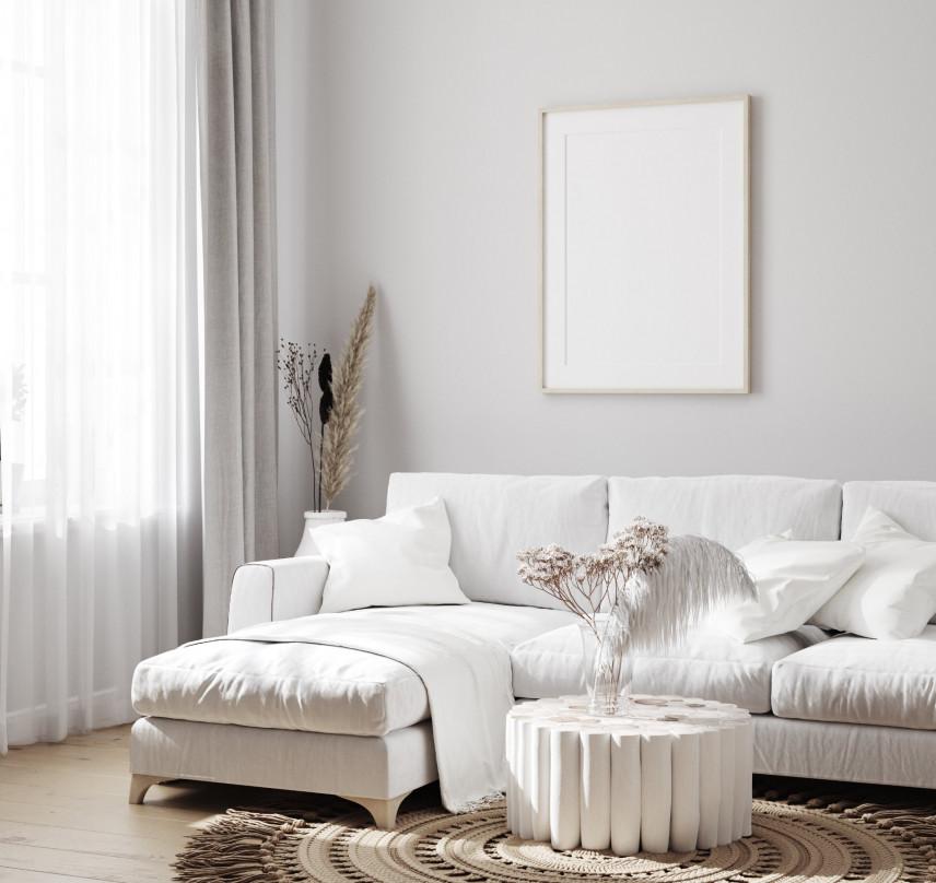Salon z białym narożnikiem