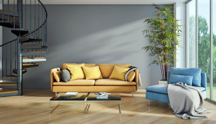 Żółta sofa i niebieski fotel