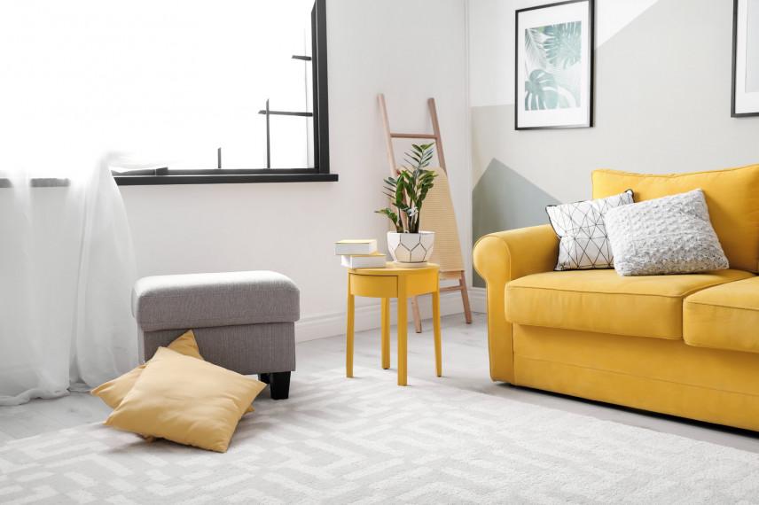 Salon z żółtą sofą
