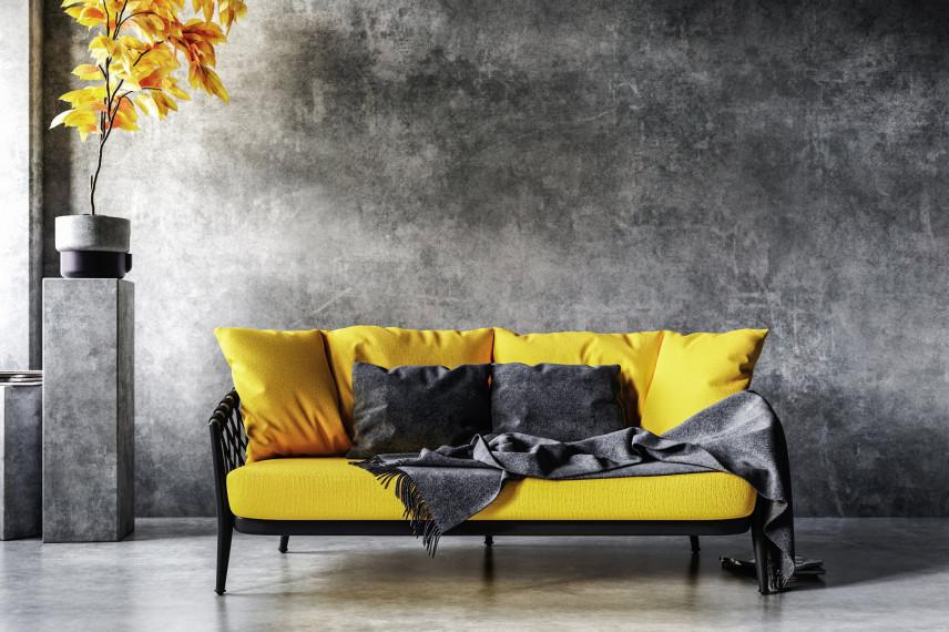Czarno-żółta sofa