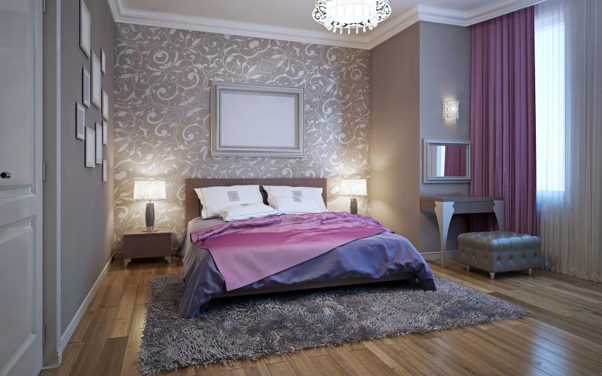 Sypialnia glamour z dużym łóżkiem