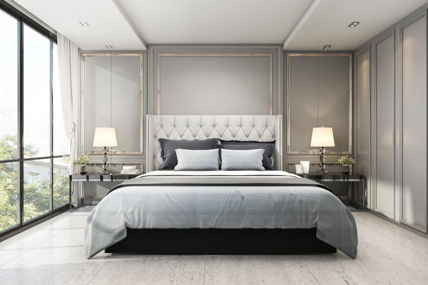 Sypialnia w szarych kolorach