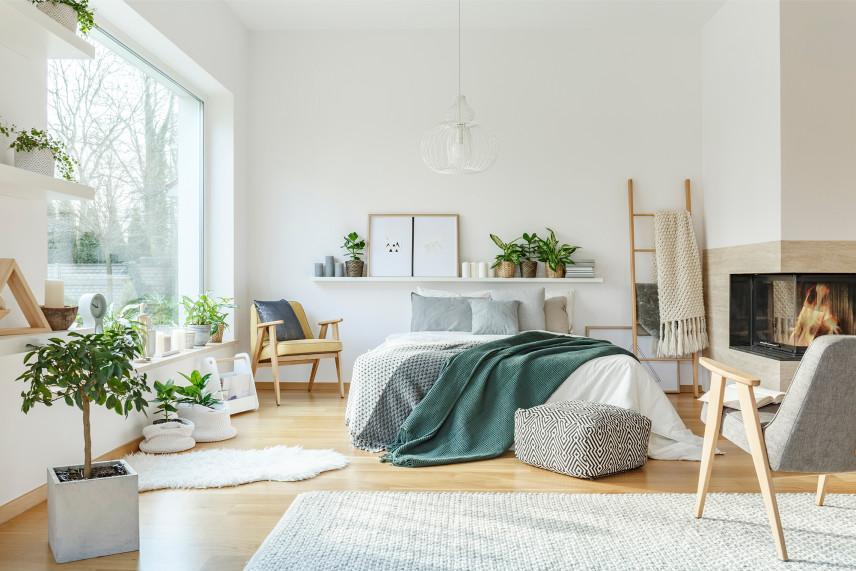 Sypialnia z kominkiem