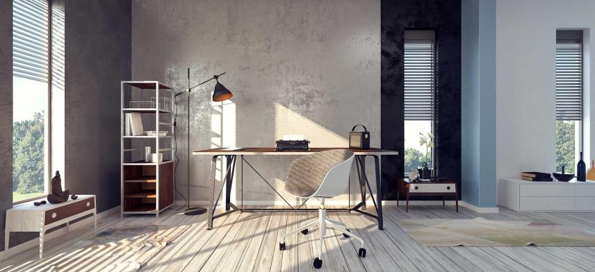 Biuro w domu z betonową ścianą
