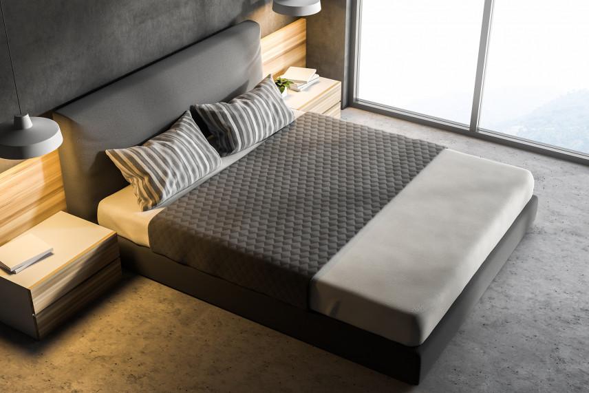 Projekt sypialni z szarą ścianą