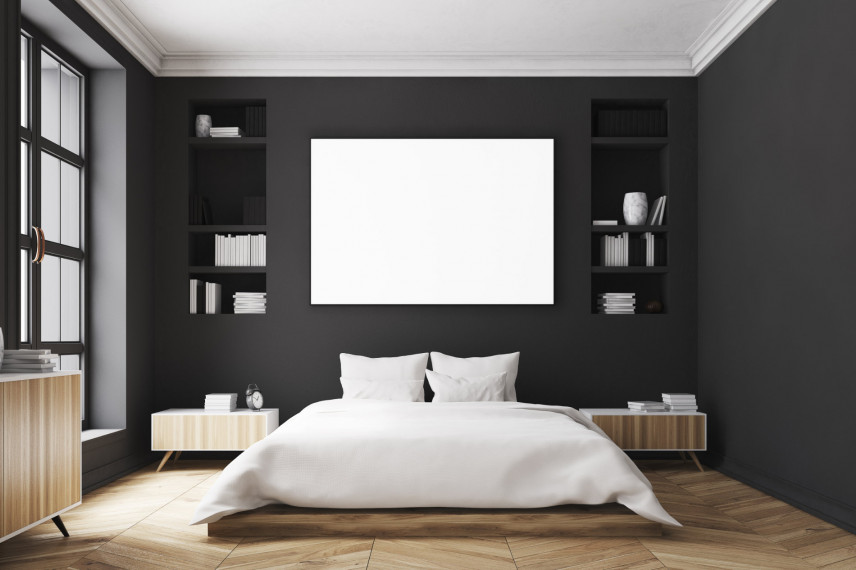 Czarne ściany w sypialni