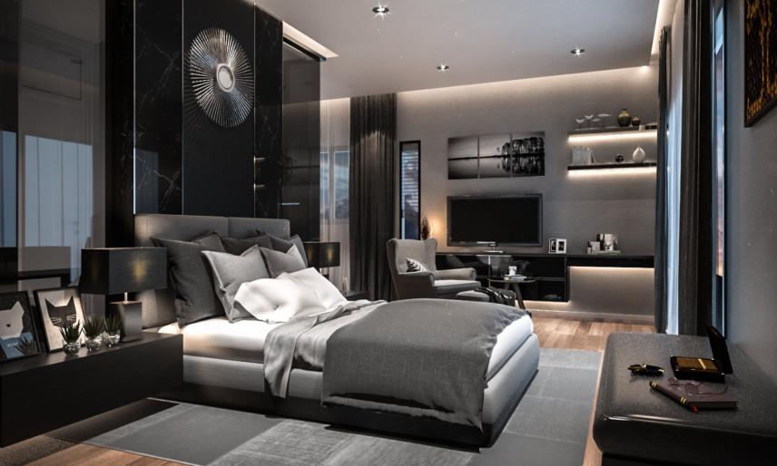 Glamour, czarna sypialnia