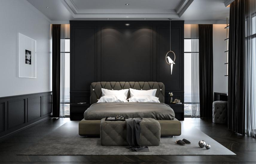 Czarno-zielona sypialnia