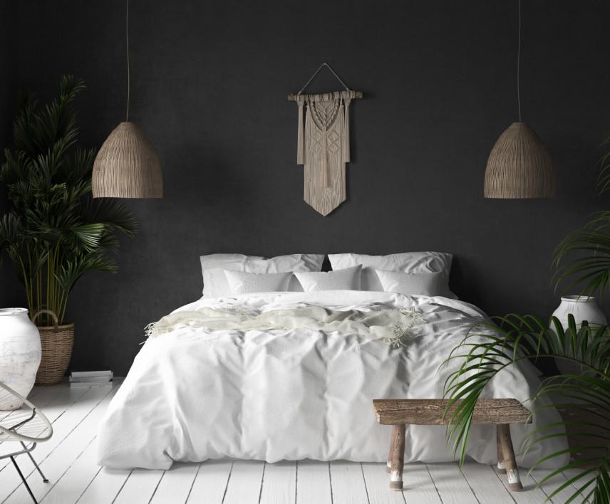 Sypialnia z białą podłogą