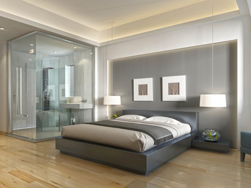 Projekt sypialni z przeszkloną łazienką