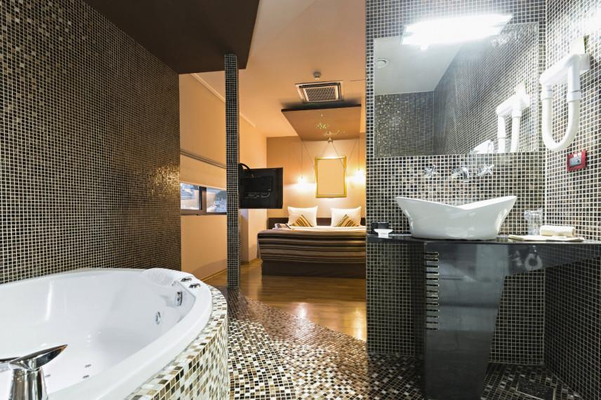 Projekt łazienki z sypialnią