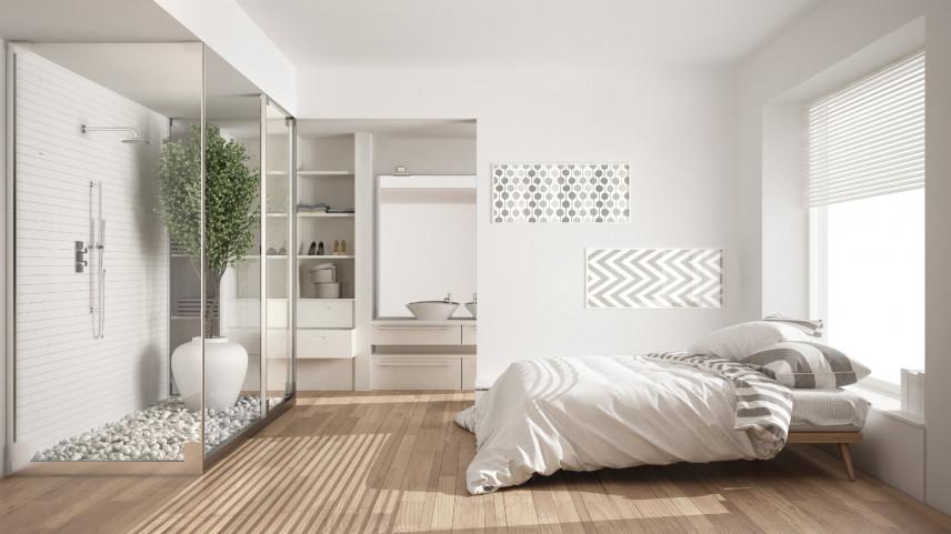 Sypialnia z wydzieloną kabiną prysznicową