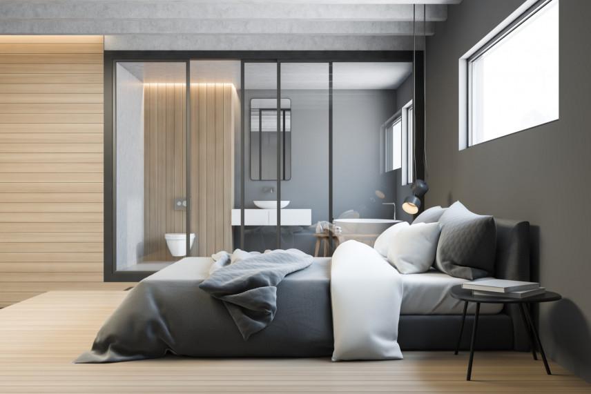 Sypialnia z prostokątnym oknem